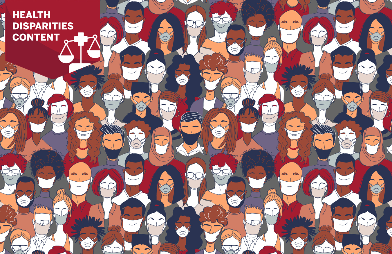A graphic of diverse faces wearing masks